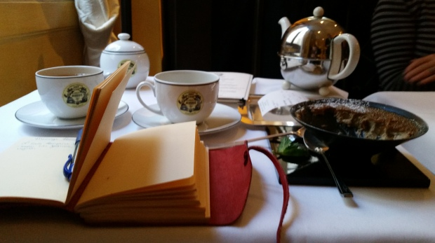 my writing table at Mariage Freres. Not a bad gig, I know.